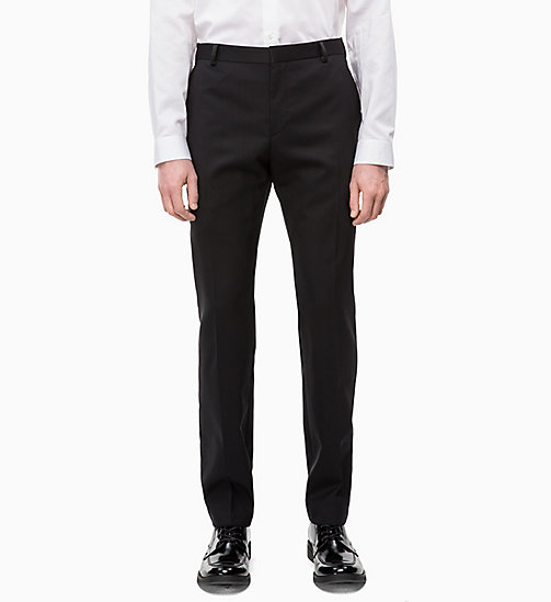 CALVINKLEIN Virgin Wool Tuxedo Trousers - PERFECT BLACK - CALVIN KLEIN INVEST IN COLOUR - main image
