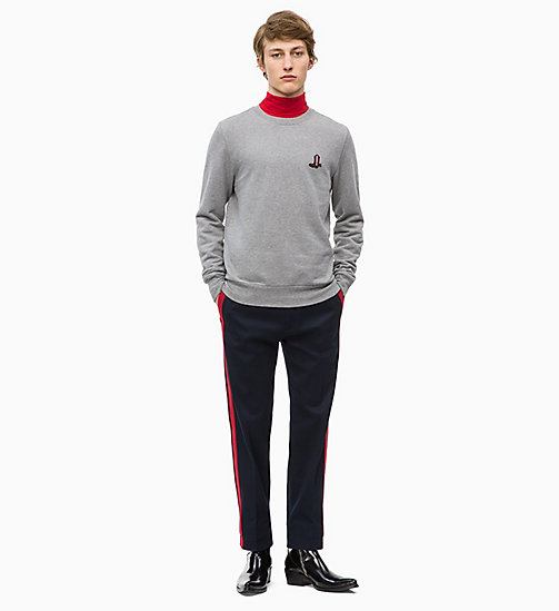 CALVIN KLEIN Свитшот с ковбойским значком - MID GREY HEATHER - CALVIN KLEIN CALVIN KLEIN MENSWEAR - подробное изображение 1