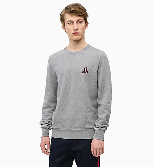CALVIN KLEIN Свитшот с ковбойским значком - MID GREY HEATHER - CALVIN KLEIN CALVIN KLEIN MENSWEAR - главное изображение