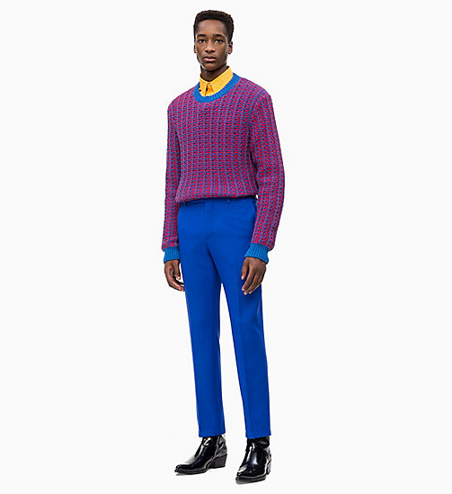 CALVIN KLEIN Two-Tone Cotton Blend Jumper - IMPERIAL BLUE - CALVIN KLEIN CALVIN KLEIN MENSWEAR - detail image 1