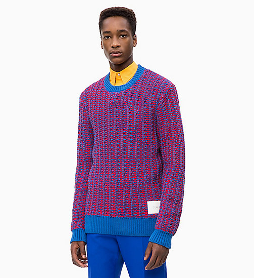 CALVIN KLEIN Two-Tone Cotton Blend Jumper - IMPERIAL BLUE - CALVIN KLEIN CALVIN KLEIN MENSWEAR - main image