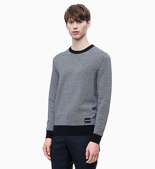 CALVIN KLEIN Two-Tone Structured Jumper - PERFECT BLACK - CALVIN KLEIN CLOTHES - main image