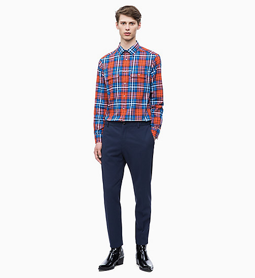 CALVIN KLEIN Relaxed Plaid Check Shirt - SPICY ORANGE - CALVIN KLEIN CALVIN KLEIN MENSWEAR - detail image 1