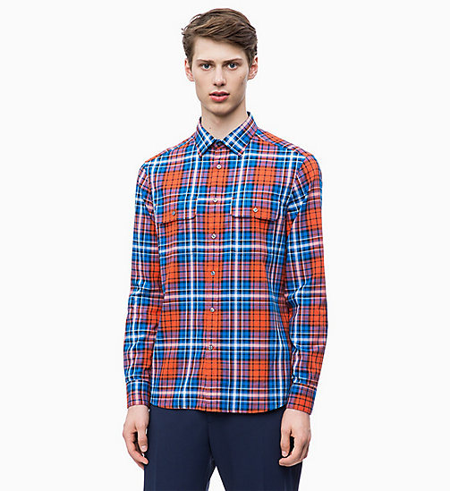 CALVIN KLEIN Relaxed Plaid Check Shirt - SPICY ORANGE - CALVIN KLEIN CALVIN KLEIN MENSWEAR - main image