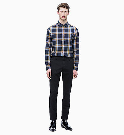 CALVIN KLEIN Brushed Cotton Check Shirt - DULL GOLD - CALVIN KLEIN CLOTHES - detail image 1