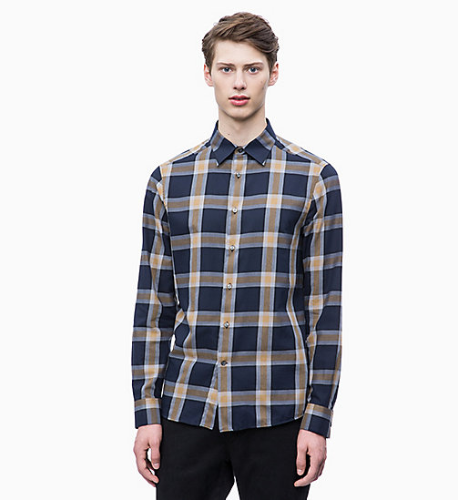 CALVIN KLEIN Brushed Cotton Check Shirt - DULL GOLD - CALVIN KLEIN CLOTHES - main image