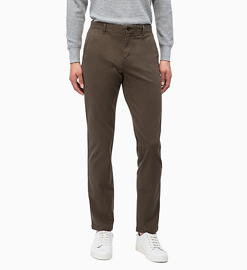 CALVINKLEIN Straight Chino Trousers - DARK OLIVE - CALVIN KLEIN CLOTHES - main image