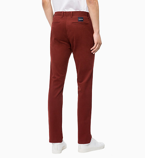 CALVIN KLEIN Straight Chino Trousers - IRON RED - CALVIN KLEIN CALVIN KLEIN MENSWEAR - detail image 1