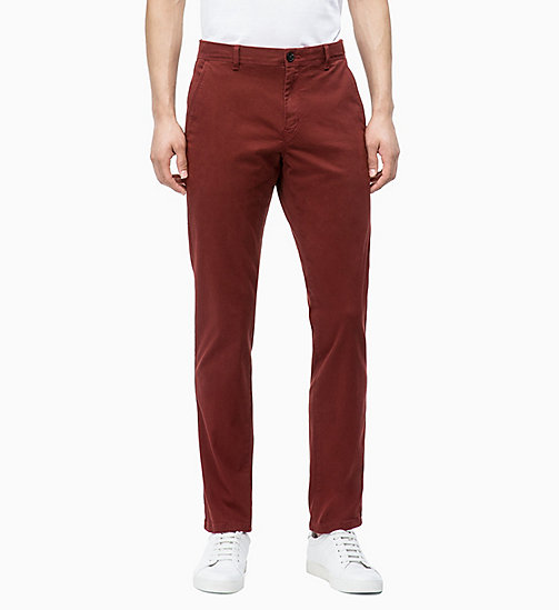 CALVIN KLEIN Straight Chino Trousers - IRON RED - CALVIN KLEIN CALVIN KLEIN MENSWEAR - main image