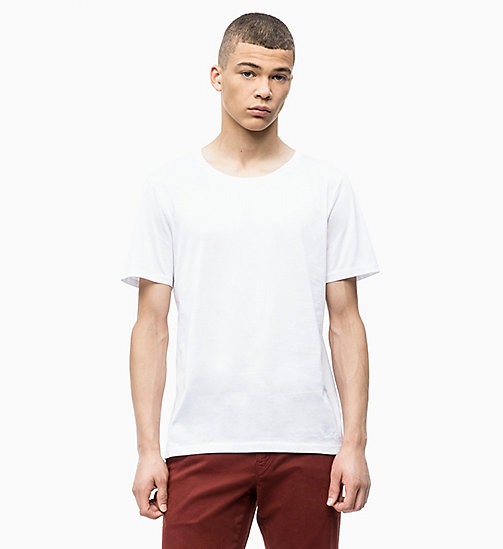 CALVINKLEIN Mercerised Cotton T-shirt - PERFECT WHITE - CALVIN KLEIN INVEST IN COLOUR - main image