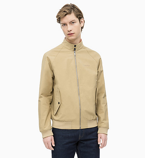 CALVIN KLEIN Cotton Blend Twill Bomber Jacket - ANTIQUE BRONZE - CALVIN KLEIN CALVIN KLEIN MENSWEAR - main image