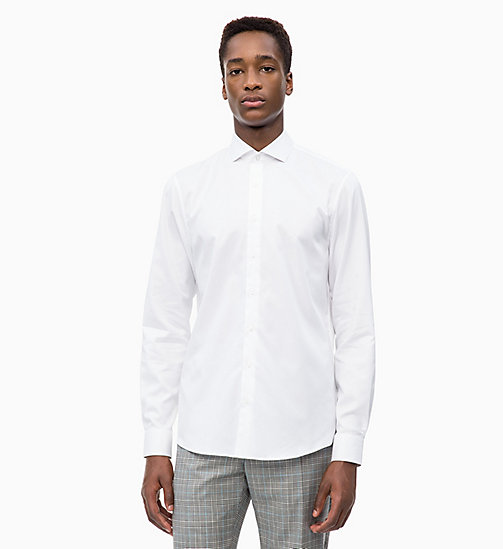 CALVIN KLEIN Structured Cotton Shirt - DF WHITE - CALVIN KLEIN CALVIN KLEIN MENSWEAR - main image