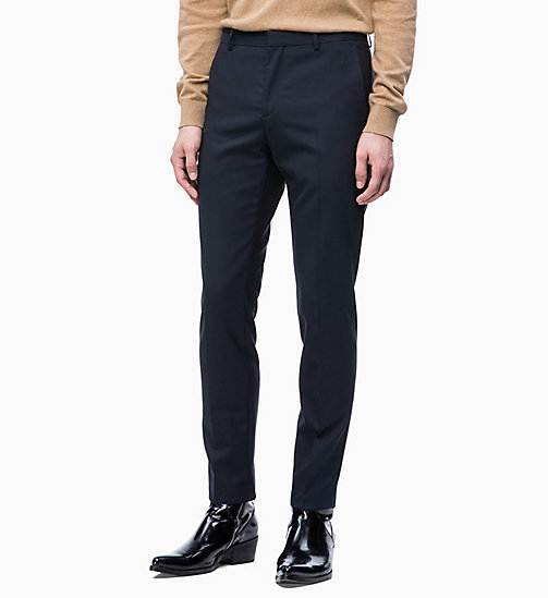 CALVIN KLEIN Virgin Wool Tuxedo Trousers - SKY CAPTAIN - CALVIN KLEIN CLOTHES - main image