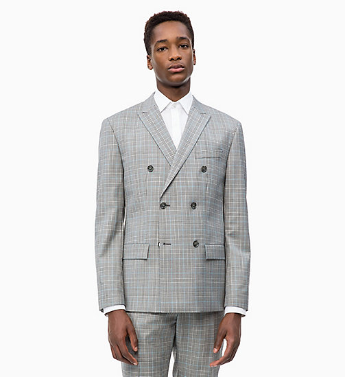 CALVIN KLEIN Wool Check Double-Breasted Blazer - ALLOY - CALVIN KLEIN CALVIN KLEIN MENSWEAR - main image