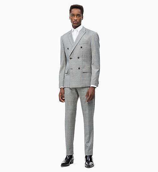 CALVIN KLEIN Fitted Wool Check Trousers - ALLOY - CALVIN KLEIN CALVIN KLEIN MENSWEAR - detail image 1
