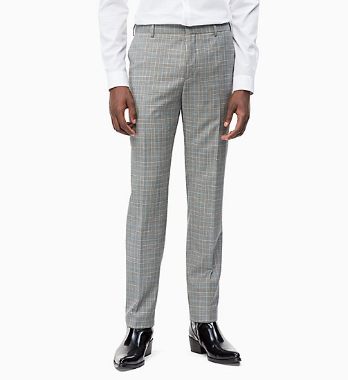 CALVIN KLEIN Fitted Wool Check Trousers - ALLOY - CALVIN KLEIN CALVIN KLEIN MENSWEAR - main image