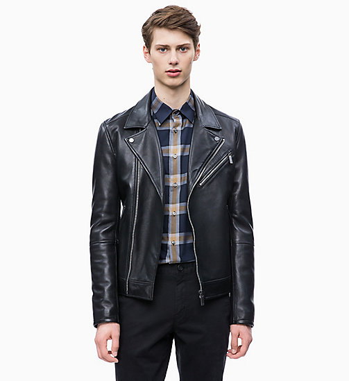 CALVIN KLEIN Leather Biker Jacket - PERFECT BLACK - CALVIN KLEIN CLOTHES - main image