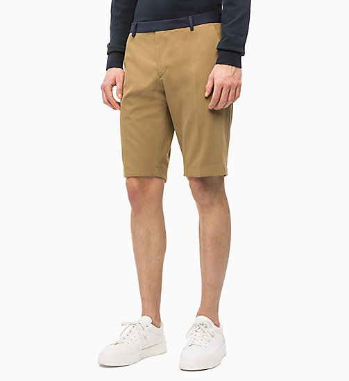 CALVIN KLEIN Gabardine Tailored Shorts - ANTIQUE BRONZE - CALVIN KLEIN CALVIN KLEIN MENSWEAR - main image