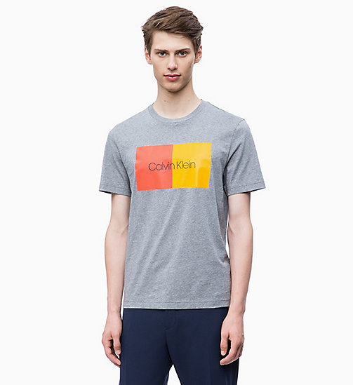 CALVIN KLEIN Two-Tone Logo T-shirt - MID GREY HEATHER - CALVIN KLEIN CALVIN KLEIN MENSWEAR - main image