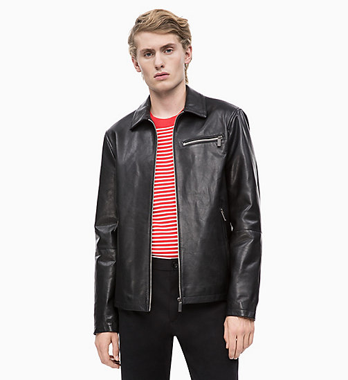 CALVIN KLEIN Nappa Leather Jacket - PERFECT BLACK - CALVIN KLEIN CALVIN KLEIN MENSWEAR - main image