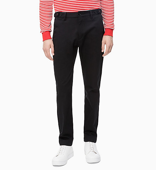 CALVIN KLEIN Straight Cotton Stretch Twill Trousers - PERFECT BLACK - CALVIN KLEIN CALVIN KLEIN MENSWEAR - main image
