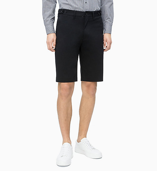 CALVIN KLEIN Cotton Stretch Twill Shorts - PERFECT BLACK - CALVIN KLEIN CALVIN KLEIN MENSWEAR - main image