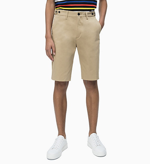 CALVIN KLEIN Cotton Stretch Twill Shorts - ANTIQUE BRONZE - CALVIN KLEIN CALVIN KLEIN MENSWEAR - main image
