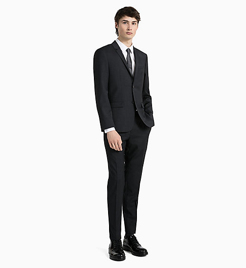 CALVIN KLEIN Fitted Textured Wool Blazer - PERFECT BLACK - CALVIN KLEIN GET SMART - detail image 1