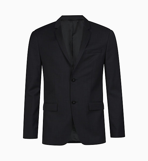 CALVINKLEIN Fitted wollen blazer met textuur - PERFECT BLACK -  GET SMART - main image