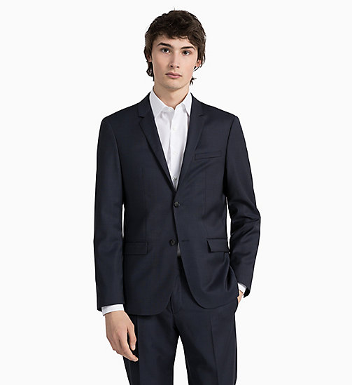 CALVINKLEIN Fitted wollen blazer met textuur - TRUE NAVY -  GET SMART - detail image 1