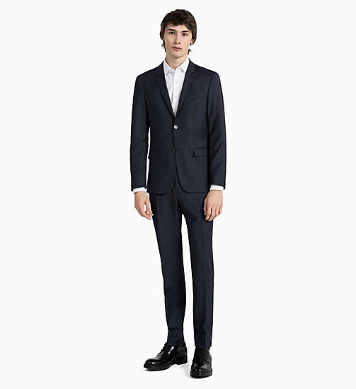 CALVIN KLEIN Fitted Textured Wool Blazer - TRUE NAVY - CALVIN KLEIN GET SMART - detail image 1