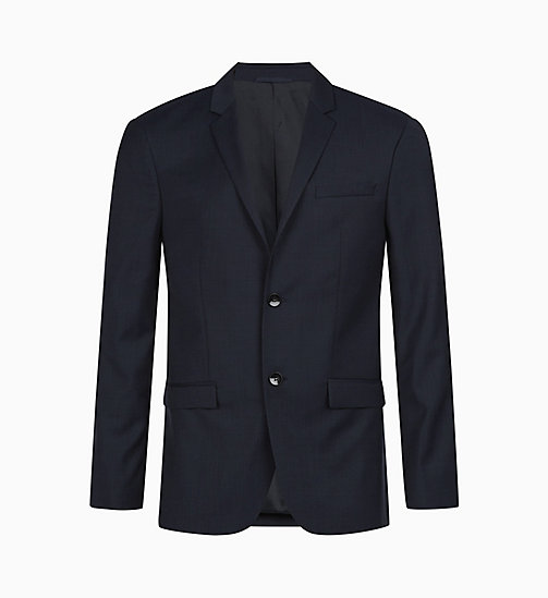 CALVIN KLEIN Fitted Textured Wool Blazer - TRUE NAVY - CALVIN KLEIN GET SMART - main image
