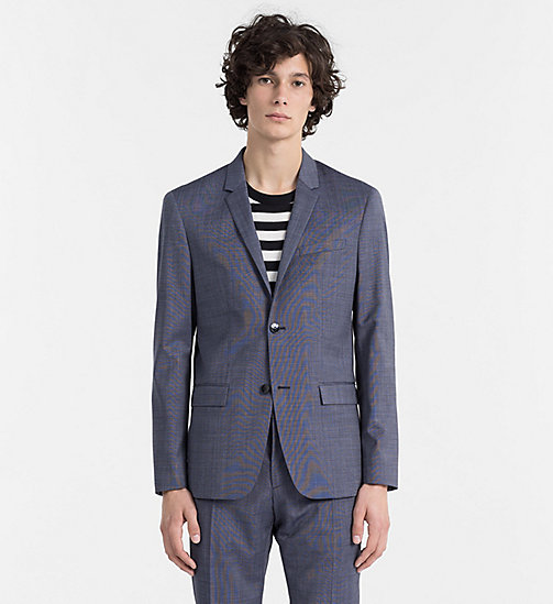 CALVINKLEIN Fitted Textured Wool Blazer - CERULEAN - CALVIN KLEIN BACK IN BUSINESS - main image