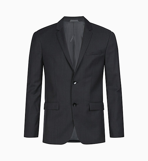 CALVIN KLEIN Fitted Textured Wool Blazer - IRON - CALVIN KLEIN GET SMART - main image