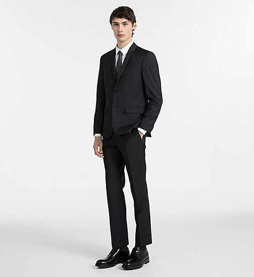 CALVIN KLEIN Fitted Textured Wool Trousers - PERFECT BLACK - CALVIN KLEIN GET SMART - detail image 1