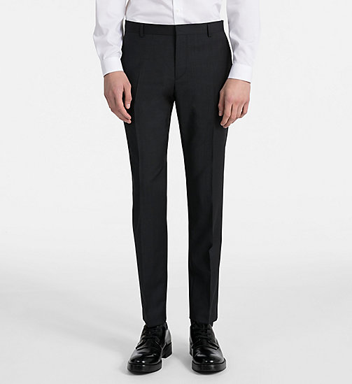 CALVIN KLEIN Fitted Textured Wool Trousers - PERFECT BLACK - CALVIN KLEIN GET SMART - main image
