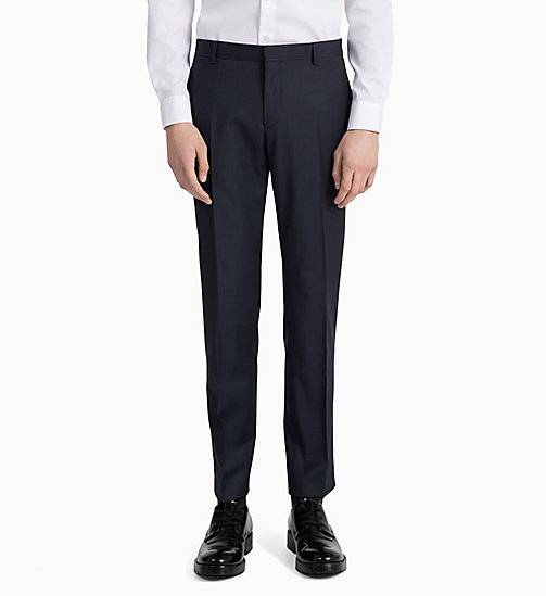 CALVINKLEIN Fitted Textured Wool Trousers - TRUE NAVY - CALVIN KLEIN GET SMART - detail image 1