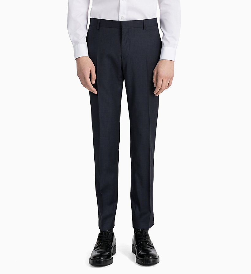 CALVINKLEIN Fitted Textured Wool Trousers - PERFECT BLACK - CALVIN KLEIN MEN - detail image 1