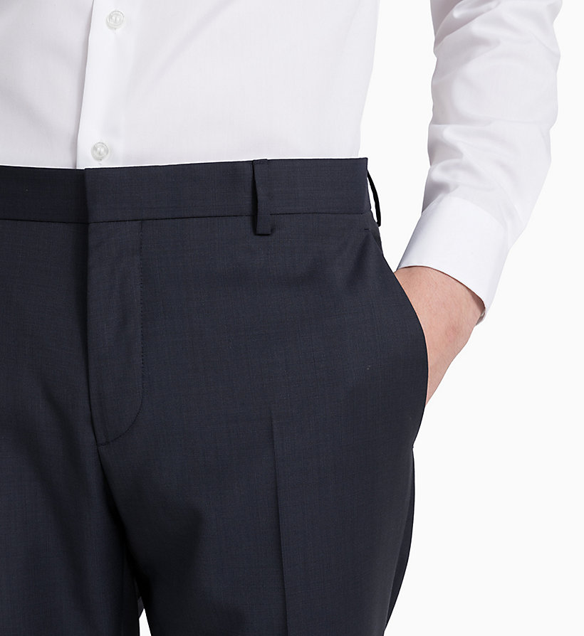 CALVINKLEIN Fitted Textured Wool Trousers - PERFECT BLACK - CALVIN KLEIN MEN - detail image 3