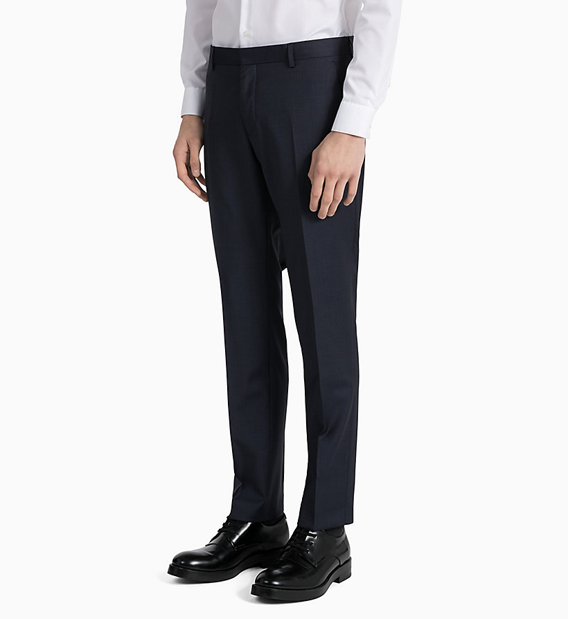 CALVINKLEIN Fitted Textured Wool Trousers - PERFECT BLACK - CALVIN KLEIN MEN - detail image 4