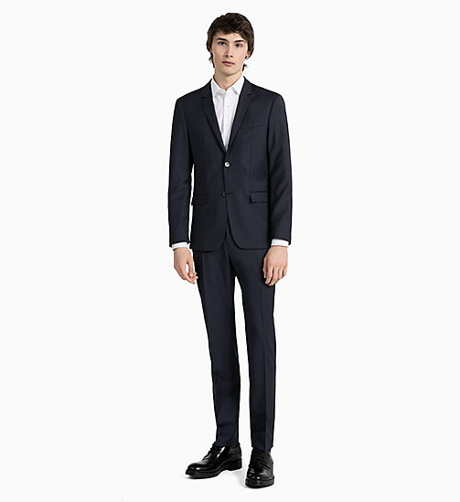 CALVIN KLEIN Fitted Textured Wool Trousers - TRUE NAVY - CALVIN KLEIN GET SMART - detail image 1
