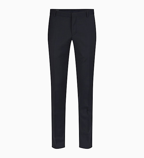 CALVIN KLEIN Fitted Textured Wool Trousers - TRUE NAVY - CALVIN KLEIN GET SMART - main image