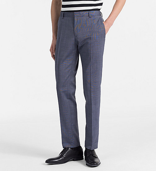 CALVINKLEIN Fitted Textured Wool Trousers - CERULEAN - CALVIN KLEIN BACK IN BUSINESS - main image
