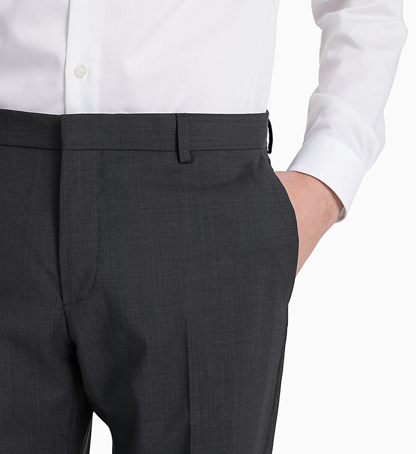 CALVINKLEIN Fitted Textured Wool Trousers - TRUE NAVY - CALVIN KLEIN MEN - detail image 3