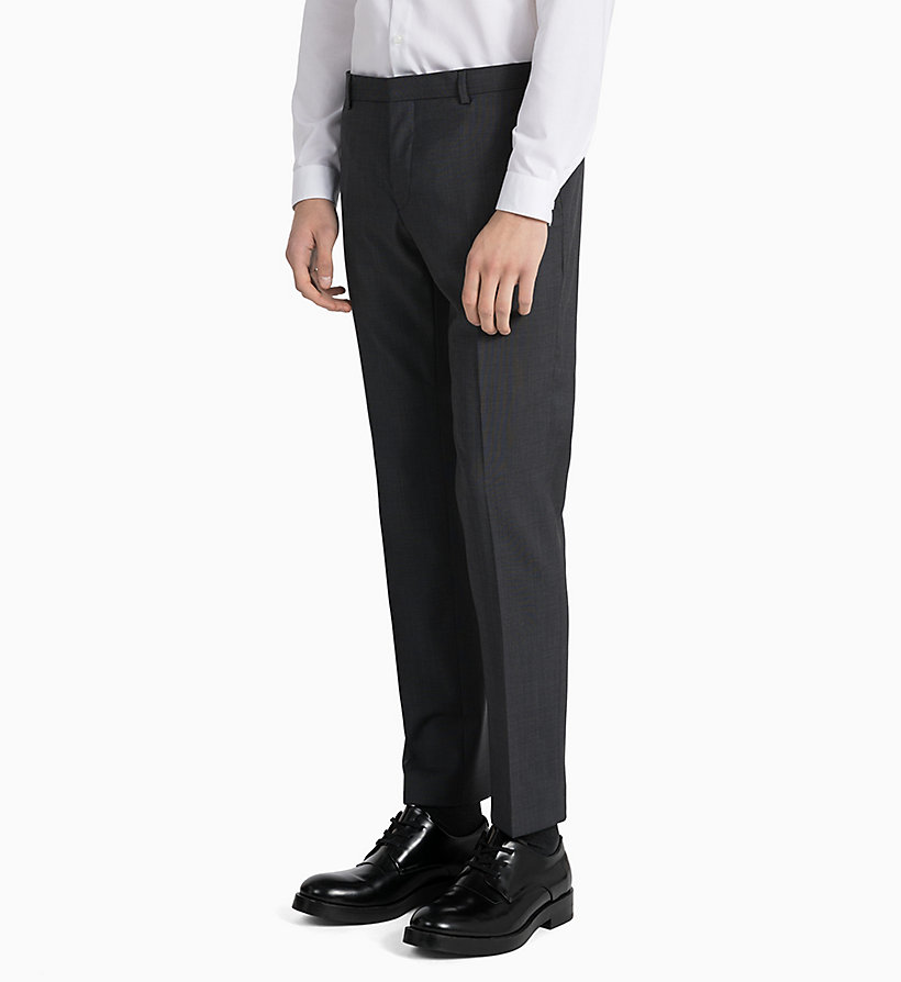 CALVINKLEIN Fitted Textured Wool Trousers - TRUE NAVY - CALVIN KLEIN MEN - detail image 4
