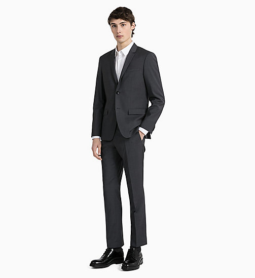 CALVIN KLEIN Fitted Textured Wool Trousers - IRON - CALVIN KLEIN GET SMART - detail image 1