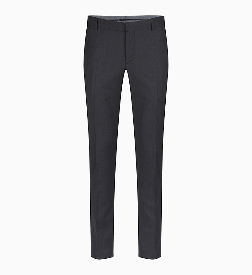 CALVINKLEIN Fitted Textured Wool Trousers - TRUE NAVY - CALVIN KLEIN MEN - main image
