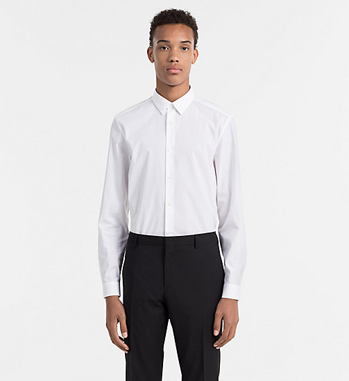 CALVINKLEIN Slim Cotton Stretch Shirt - PERFECT WHITE - CALVIN KLEIN SHIRTS - main image