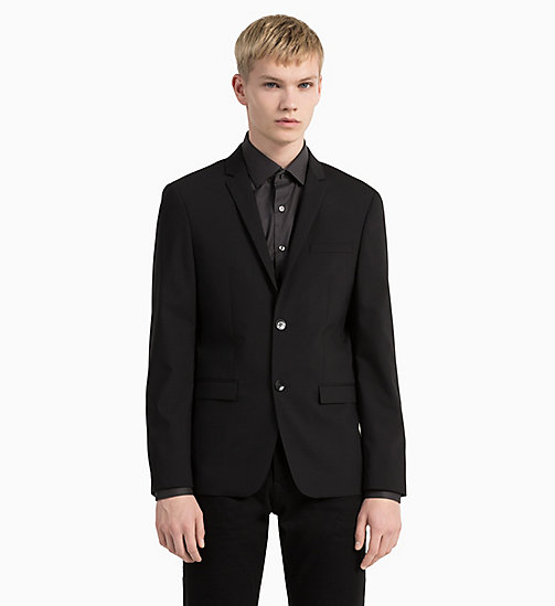 CALVINKLEIN Slim Wool Stretch Blazer - PERFECT BLACK - CALVIN KLEIN BLAZERS & SUITS - detail image 1