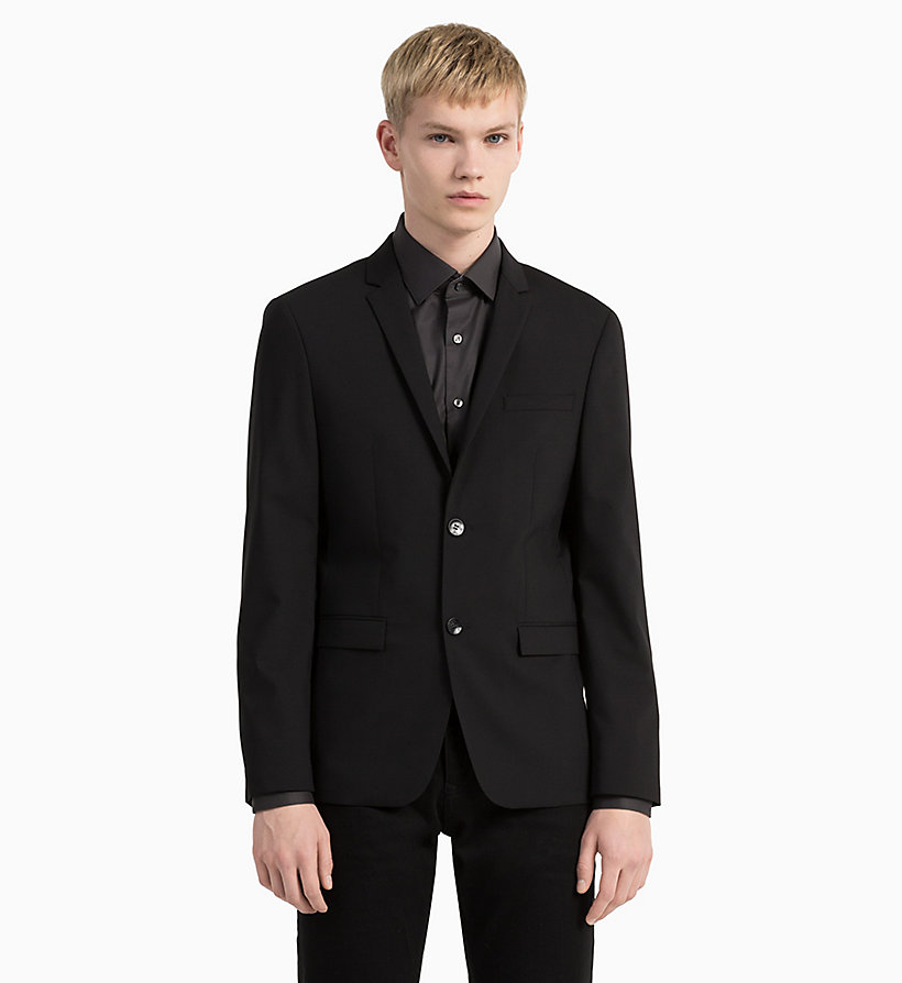 CALVINKLEIN Slim Wool Stretch Blazer - MIDNIGHT NAVY - CALVIN KLEIN MEN - detail image 1